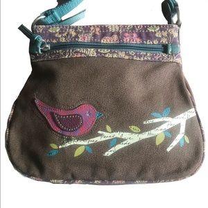Fossil Canvas Bird Crossbody Bag